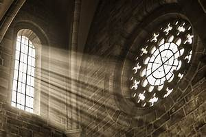 church window with sunbeams Custom Wallpaper