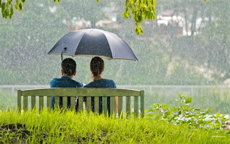 love couples romance   rain wallpapers