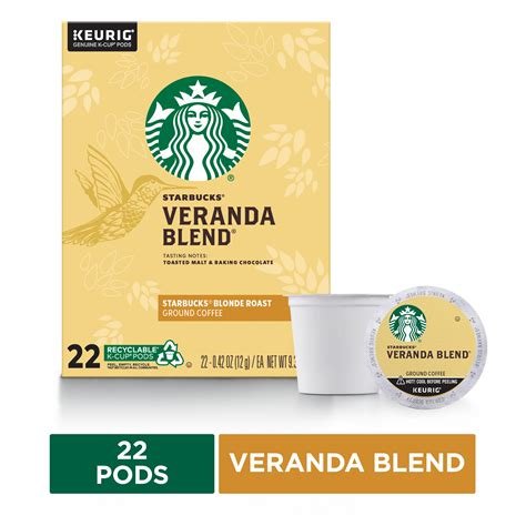 A lighter, gentler take on. Starbucks Blonde Roast K-Cup Coffee Pods — Veranda Blend for Keurig Brewers — 1 box (22 pods ...