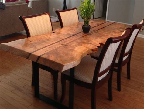 edge maple dining table maple burl walnut accents