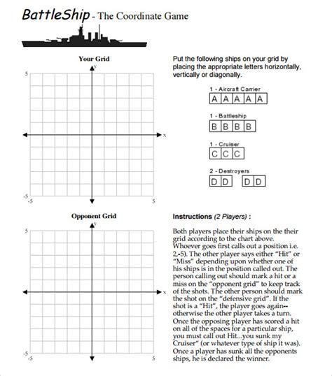 battleship game samples examples templates sample