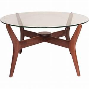 Table Basse Scandinave Ronde : table basse ronde scandinave en verre et teck 1960 ~ Teatrodelosmanantiales.com Idées de Décoration