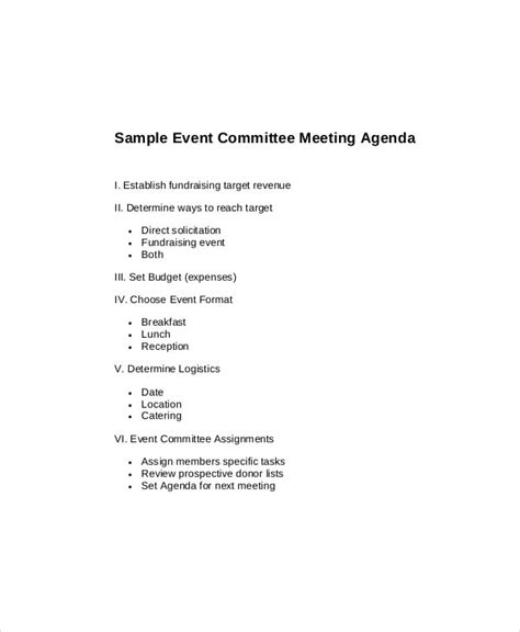 committee meeting agenda templates  sample