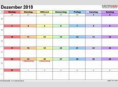 Kalender Dezember 2018 als ExcelVorlagen