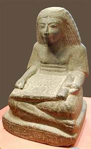 File:Seated scribe with papyrus scroll Louvre.JPG ...