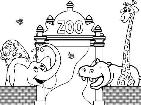 les animaux dans le zoo  colorier