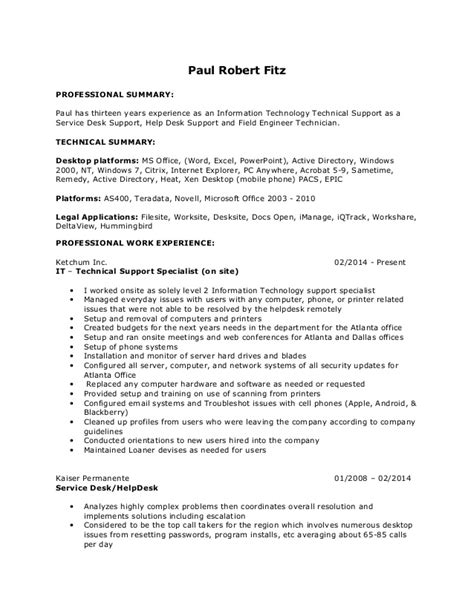Help Desk Technician Salary Dc by Paul Robert Fitz Formatted Resume