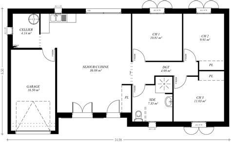 plan maison plain pied 4 chambres garage cuisine modã le plan maison plain pied plan de maison