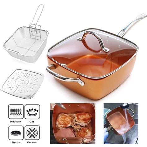 high quality square copper pan  pieces cookware set  stick frying pan deep frying cooking