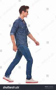 Side View Casual Young Man Walking Stock Photo 130810055 ...