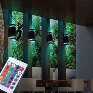 Led Aussenleuchten Wandleuchten : design rgb led wandleuchte mit fernbedienung und dimmer unsichtbar lampen m bel au enleuchten ~ Markanthonyermac.com Haus und Dekorationen