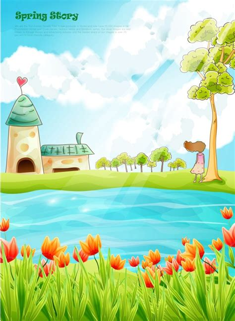 beautiful cartoon spring scenery vector graphics