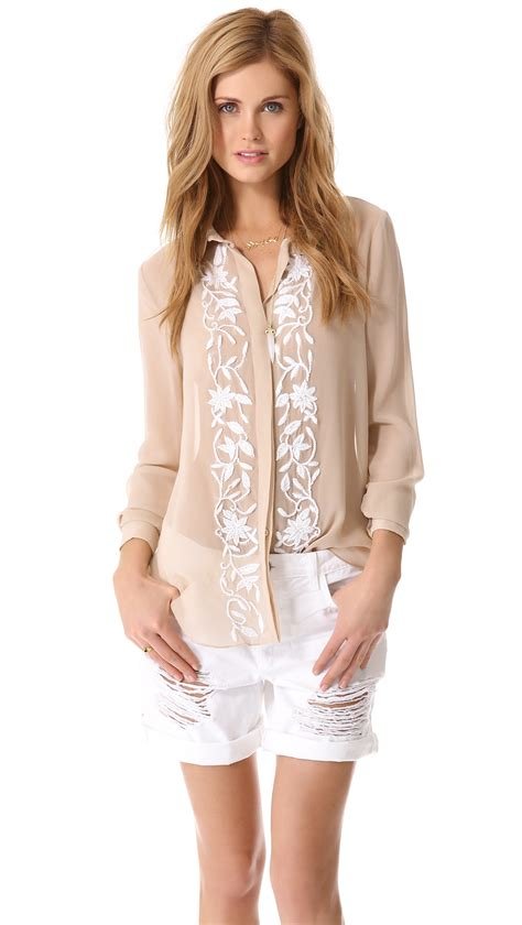 haute hippie blouse haute hippie embroidered button blouse in pink lyst