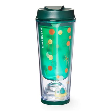 christmas tree not drinking water a green acrylic coffee tumbler featuring a glittery water