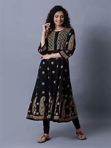 Buy Black Chikankari Cotton Anarkali Kurta Online At Theloom