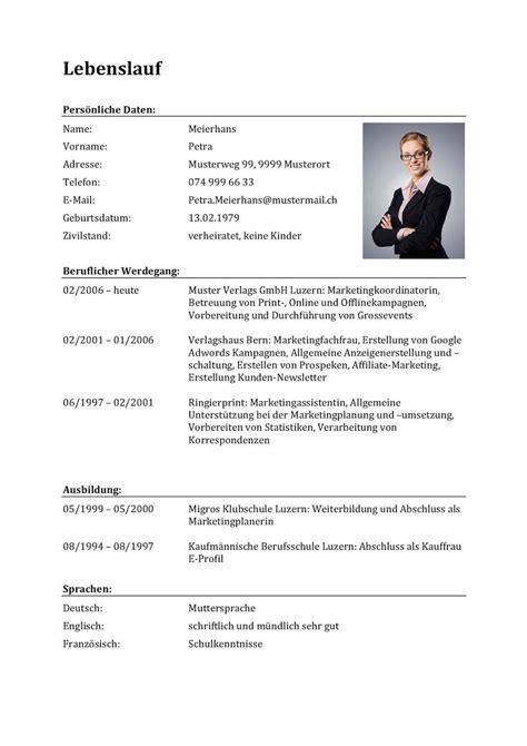 Lebenslauf Darstellung by Gratis Lebenslauf Vorlagen Muster F 252 R Die Bewerbung In