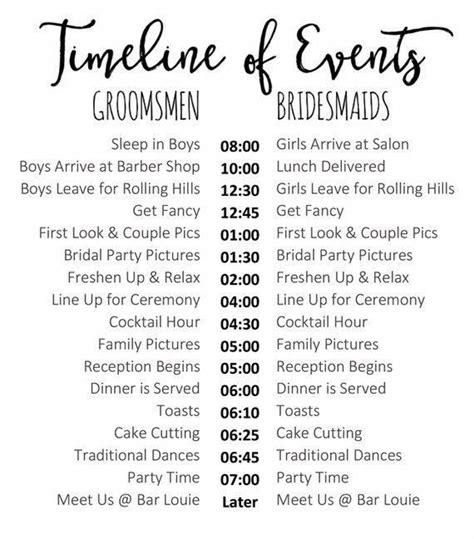editable wedding timeline edit  word cute wedding