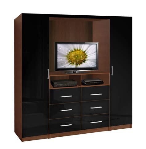black leather platform bed aventa tv wardrobe wall contempo space