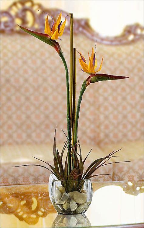 bird  paradise silk flower arrangement orange