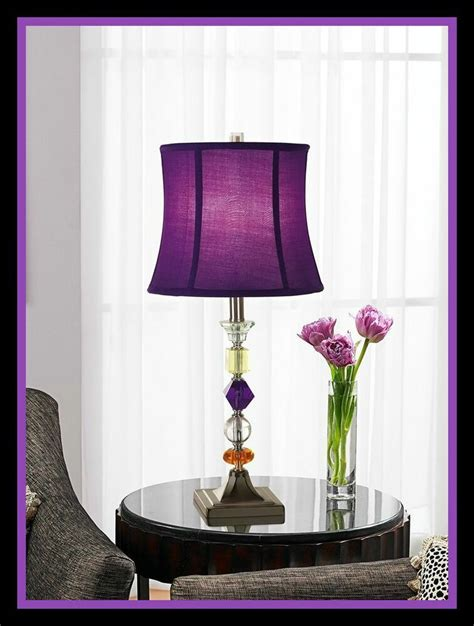 purple  table floor lamp crystal accent dorm room