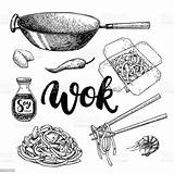 Wok Drawing Vector Box Chinese Chopsticks Chop Illustration Lettering Isolated Food Clip Cooking Illustrations Noodles Clipart Asian Asia Vectors Royalty sketch template