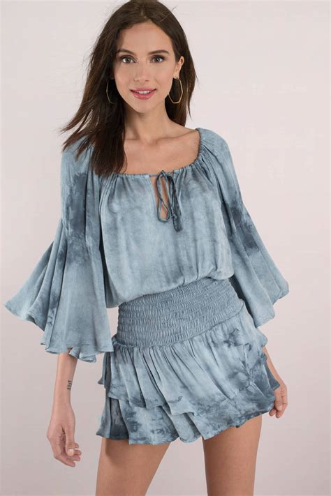 trendy blue casual dress smock dress blue tie dye dress 118 tobi us