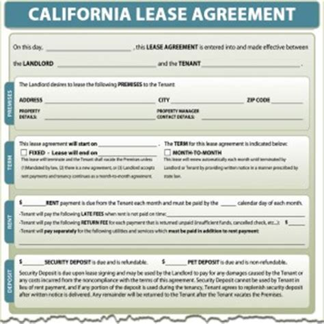 California Lease by California Lease Agreement