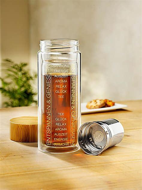 flasche to go doppelwandige tea to go flasche mit bambus deckel weltbild de