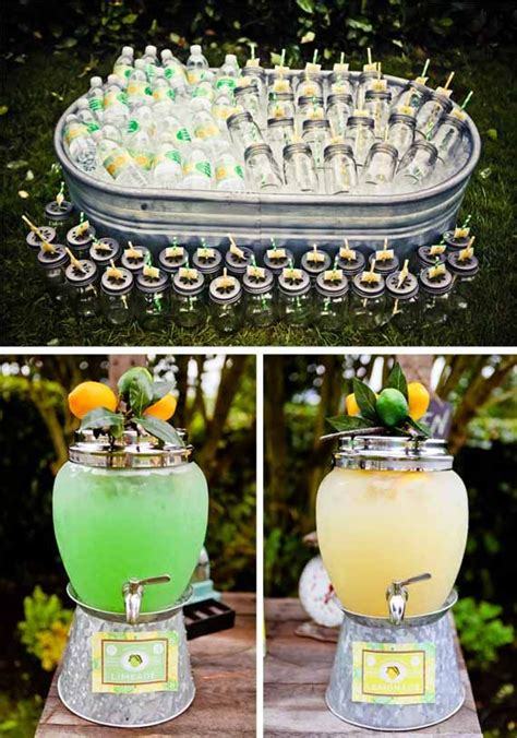 vintage lemon lime party jars summer  style