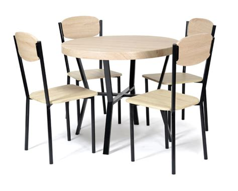 table ronde avec chaise table 4 chaises casa noir chene