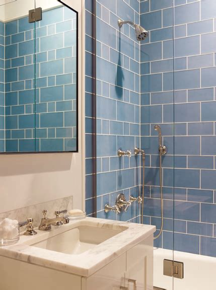 blue shower tiles contemporary bathroom mendelson group