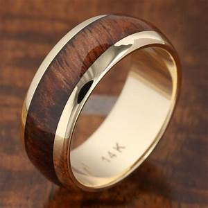 14k solid yellow gold with koa wood inlay wedding ring 7mm With wooden mens wedding rings
