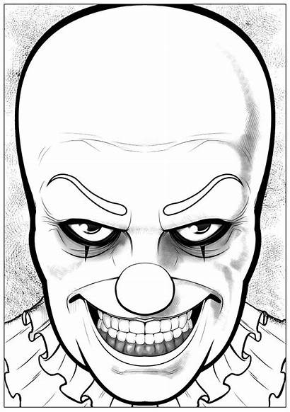 Pennywise Coloring Halloween Colorear Adults Disegni Colorare