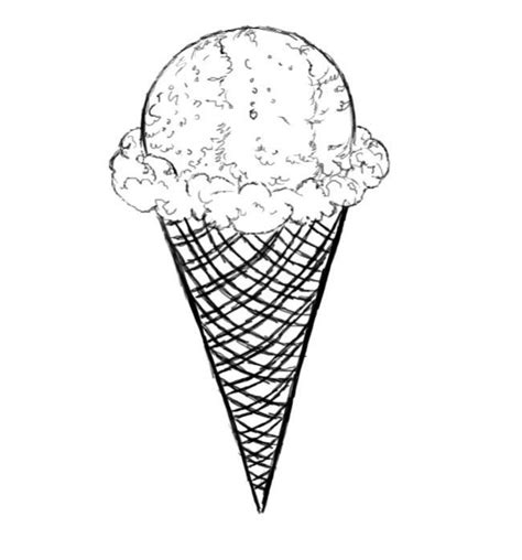 draw ice cream cone sketch coloring page