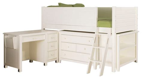White Low Loft Bed With Desk by Lea Willow Run Low Loft Bed In Linen White
