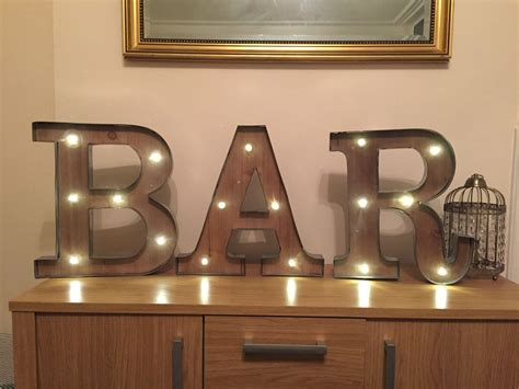 freestanding bar wooden rustic quot led light up letters letter lights numbers marquee letters