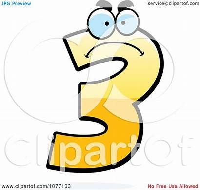 Number Yellow Three Clipart Mad Illustration Cory