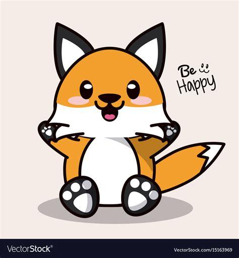 color background  cute kawaii animal fox vector image