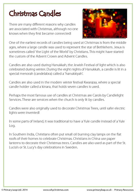 history  candles christmas fact sheet