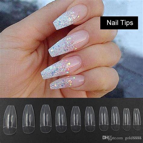 long ballerina  nail tips clear coffin false nails abs