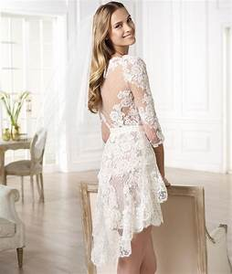 get feminine look with short lace wedding dresses With short lace wedding dress