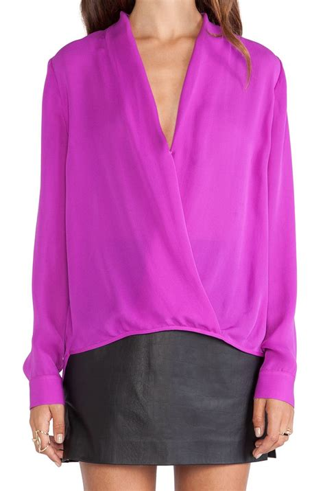 fuschia blouse by by wrap blouse in fuschia