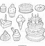 Dessert Desserts Coloring Drawing Cake Getdrawings Elegant sketch template