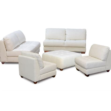 leather sofa and ottoman set zen collection armless all leather tufted seat sofa