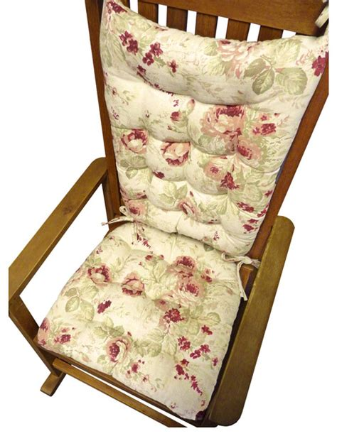shabby chic rose rocking chair cushions traditional