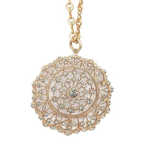 beautiful gold  silver crystal medallion necklace