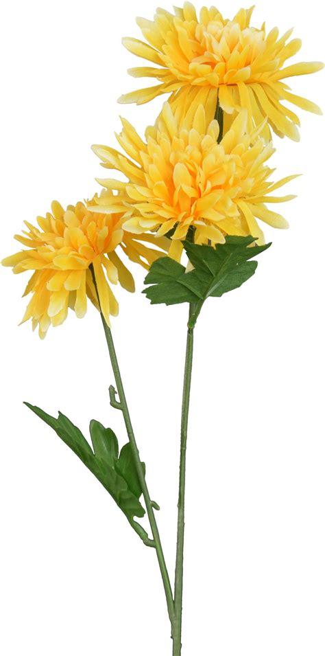 Artificiale Lungo Stelo Crisantemo Fiore In Giallo  68 Cmmazzo Di 6 Steli Ebay