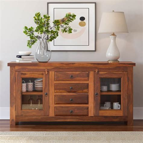 credenza buffet fremont rustic solid wood glass door 4 drawer sideboard