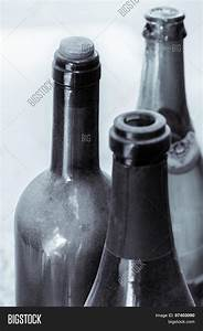 Some Very Old Wine Bottles - In Black And White Shot ...