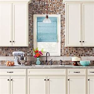 cream color cabinet vignette tile backsplash to ceiling With kitchen cabinets lowes with king of hearts wall art